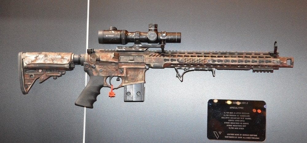 VLTOR's custom Apocalypse rifle with a Ballistic Advantage 14.5-inch barrel, zombied up by Dark Alliance Firearms. Sure, sure, depending on how the muzzy device is mounted, it may not be NFA, but it's just so cool we tossed it in here.