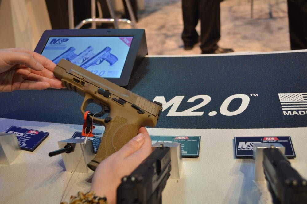 The S&W M&P 2.0 is front-and-center in all the company's displays at SHOT 2017. (Photo: Kristin Alberts)