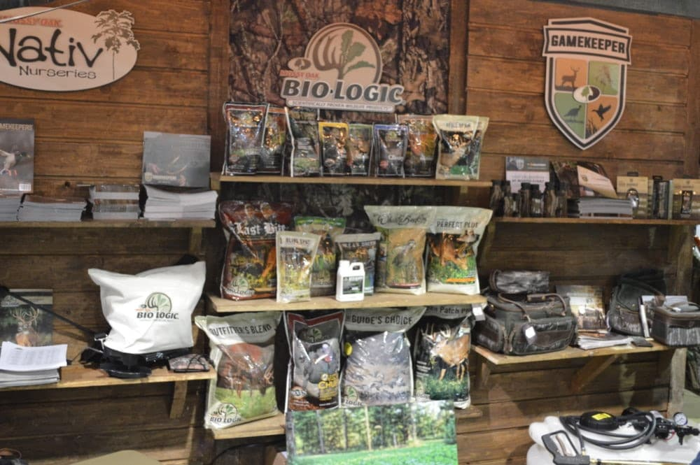 Biologic showed off their full seed and supplement product line for hunters preparing food plots. (Photo: Kristin Alberts