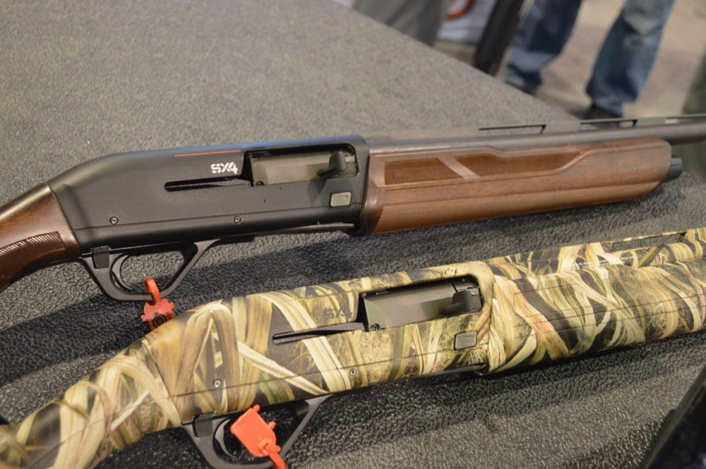 Winchester showed off the new SX4 line of semi-auto shotguns, with improvements geared toward hunters. There's a larger bolt handle, bolt release, and trigger guard for easier use in adverse conditions with gloved hands. (Photo: Kristin Alberts)