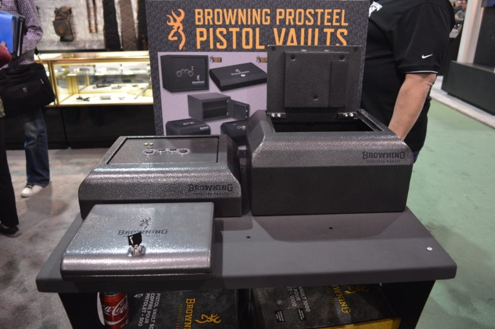 Browning debuted a line of ProSteel pistol vaults, all finished with the Buckmark logo. (Photo: Kristin Alberts)