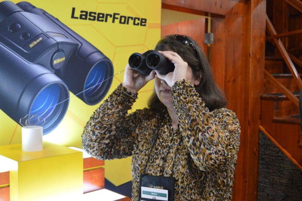 Nikon debuted their first rangefinding binoculars, the LaserForce. (Photo: Kristin Alberts)