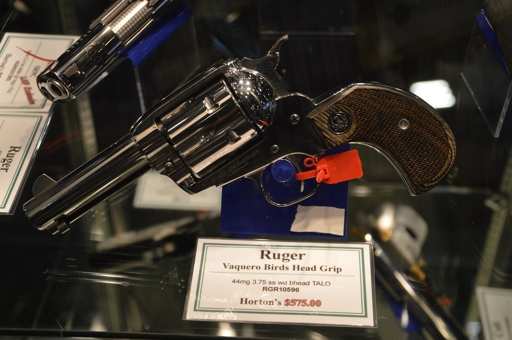 In addition to their regular line, Ruger also has a number of dealer exclusives such as this Vaquero Bird's Head .44 Mag through Hortons for $575.