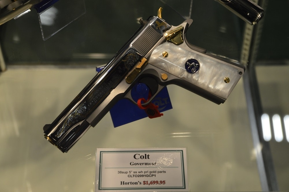 Then again, there is always this .38 Super gentleman's gun with gold inlays and pearl grips