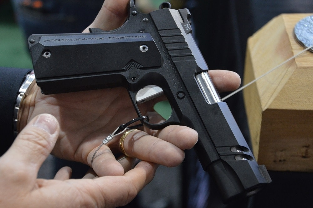 Their new Tri-Cut Carry was formulated by one of their gunsmiths as part of a successful application for the American Pistolsmiths Guild and features a flattened trigger and a very futuristic styling to go along with Heinie Ledge Straight Eight Tritium rear and Nighthawk tritium front sights.