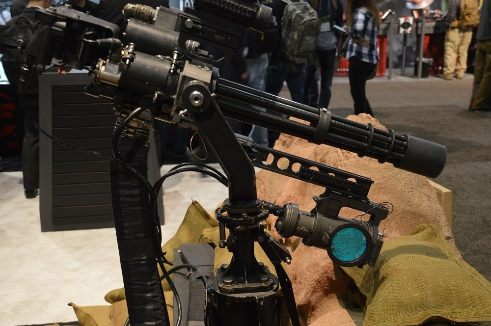 SureFire's Mini-gun display to highlight (see what we did there) their giant sunlight making weapon light mounted below. And you thought your tac light was bulky