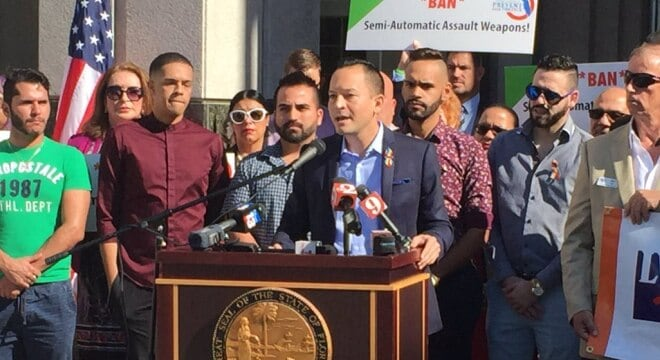 "Florida Rep. Carlos Guillermo Smith, an Orlando-area Democrat, is backing a ban on guns he terms ""military-style assault weapons."" (Photo: Christopher Heath/WFTV via twitter)"