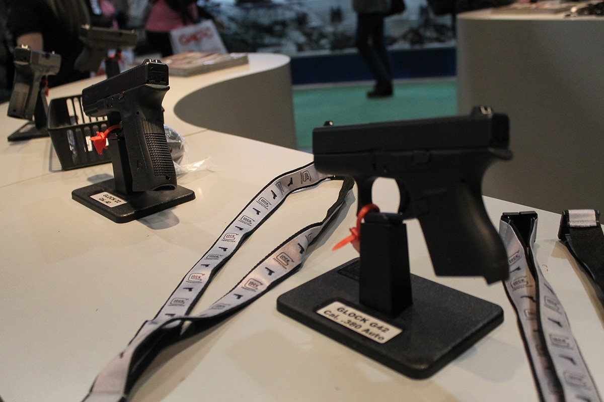 The Glock 42 and 22 were among the models showcased at the booth. (Photo: Jacki Billings)