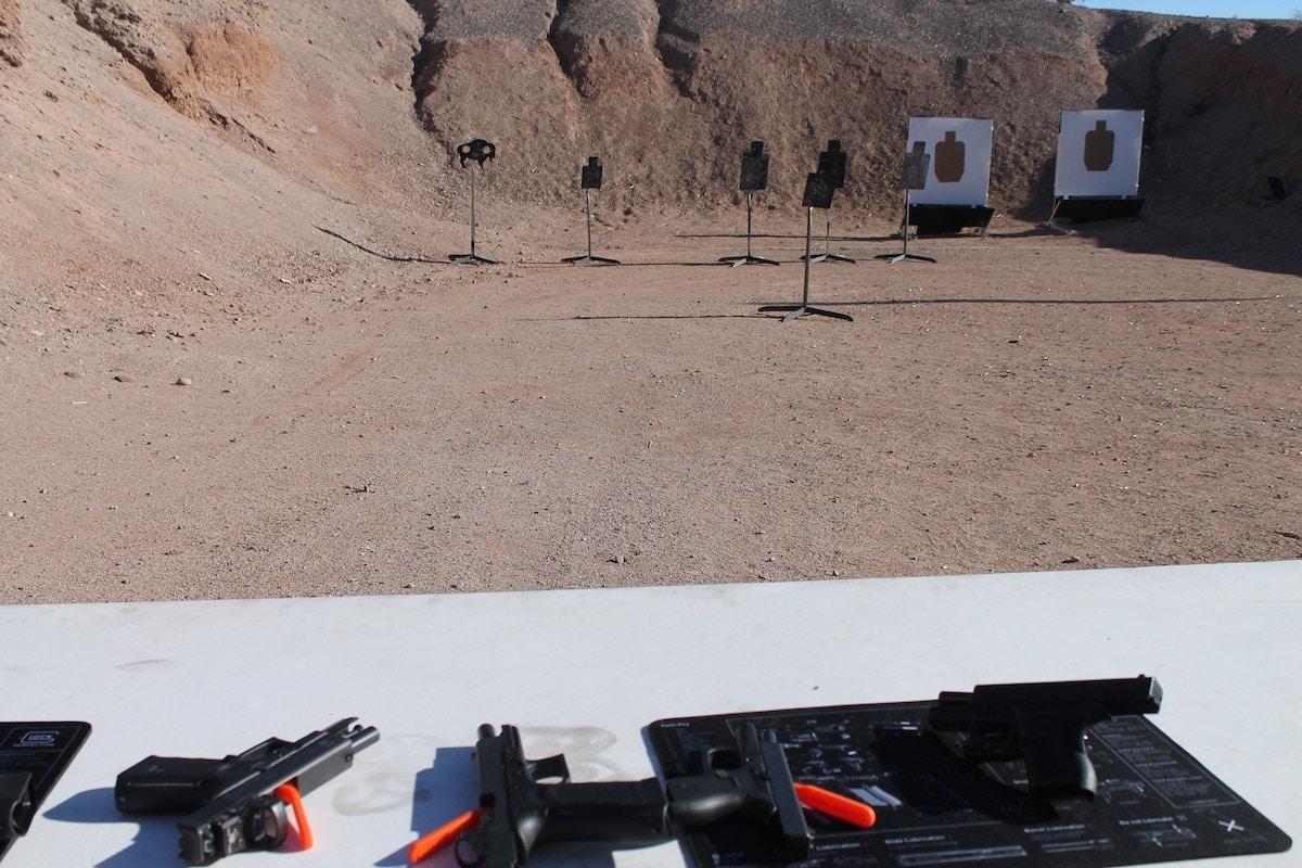 Row of Glocks on the range at the media event in Las Vegas, NV. (Photo: Jacki Billings)