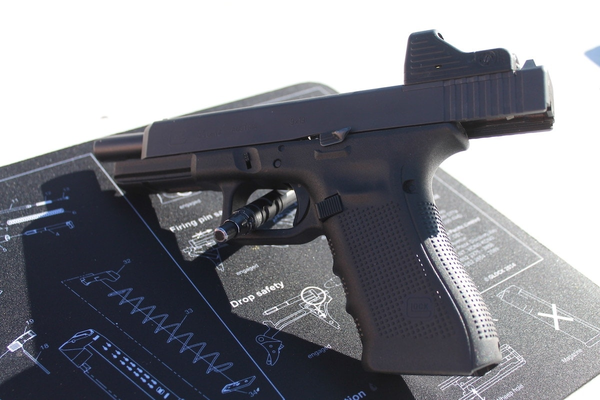 Mounted optic on Glock 19 at the range day event at SHOT Show in Las Vegas. (Photo: Jacki Billings)