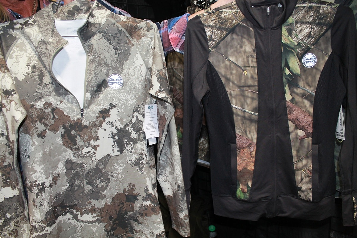 For ladies who like to wear their Girls with Guns gear to the gym, the company also makes athletic gear in Alpine camo, left, and Mossy Oak Country, right. (Photo: Jacki Billings)