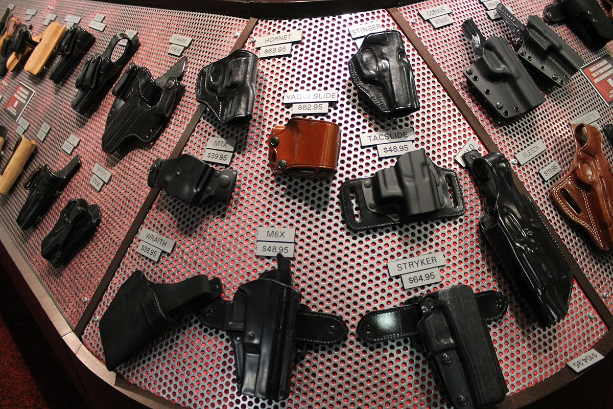 A sampling of holsters at Galco's booth. (Photo: Jacki Billings)