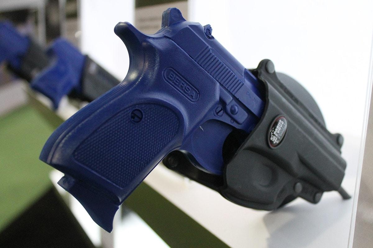 Bersa Blue Gun inside a standard FOBUS rig. (Photo: Jacki Billings)
