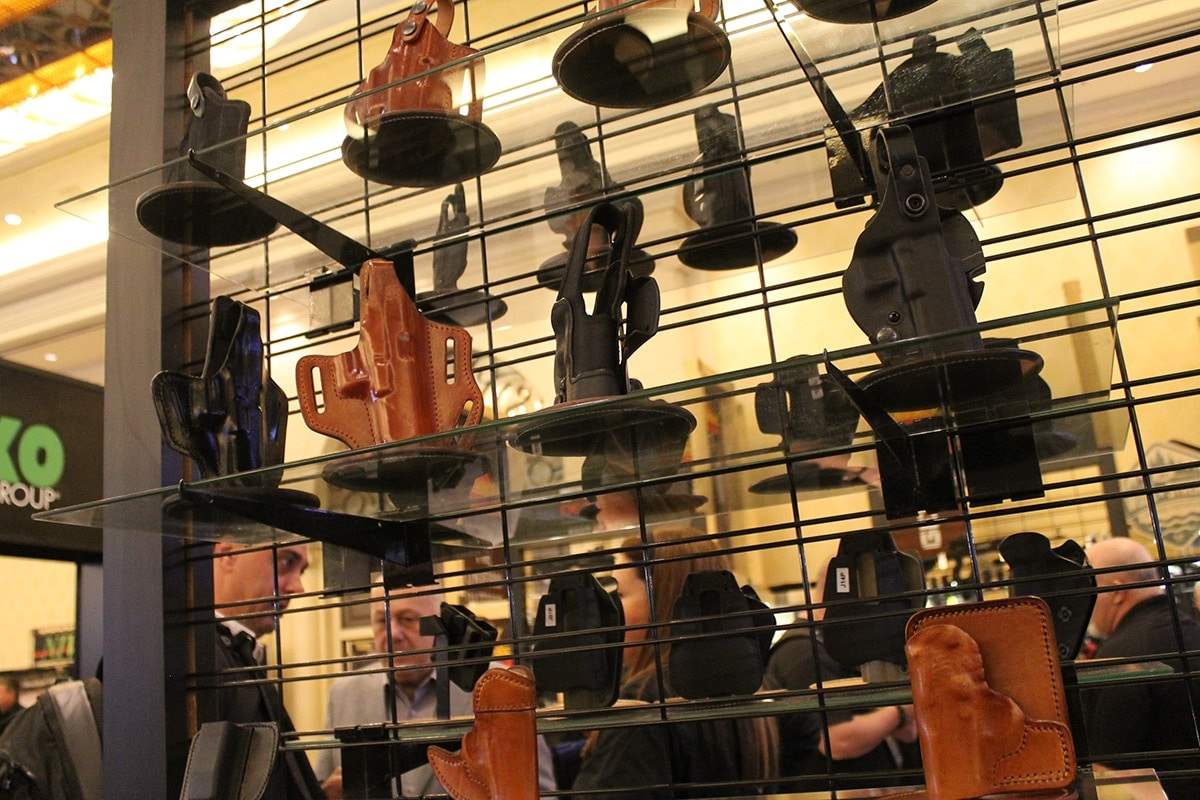 Mako Group displayed a selection of both kydex and leather holsters for variety of carry. (Photo: Jacki Billings)