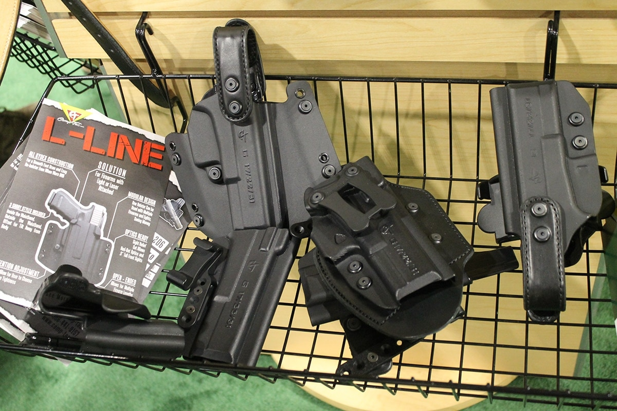 A bin of holsters, including the I-Line, from Comp-Tac (Photo: Jacki Billings)