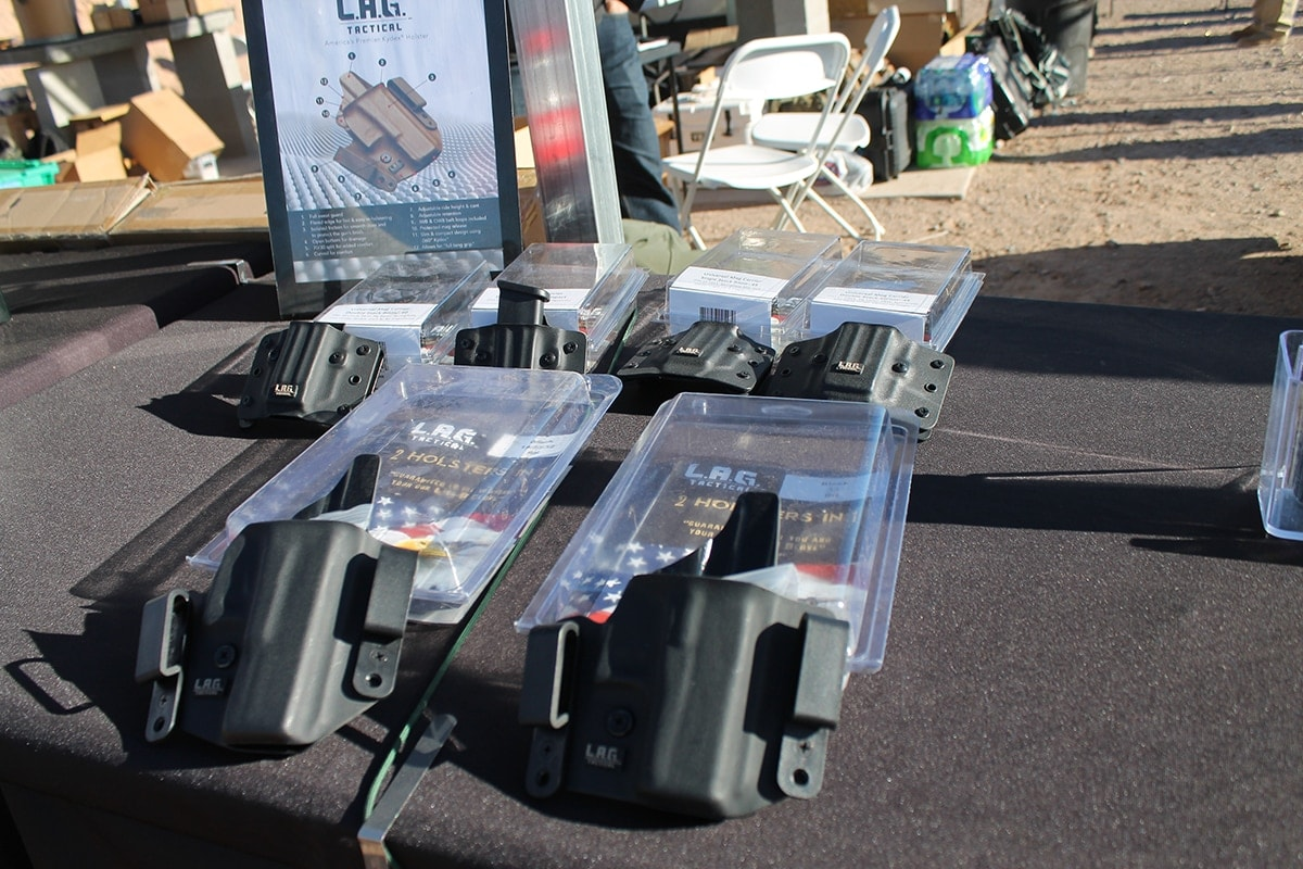 L.A.G. Tactical serving up some holster options on the range. (Photo: Jacki Billings)