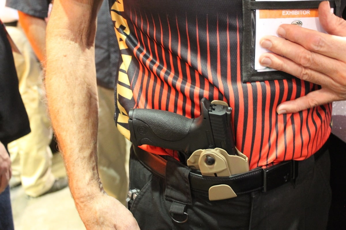 A rep from Safariland highlighting appendix carry with an IWB holster. (Photo: Jacki Billings)