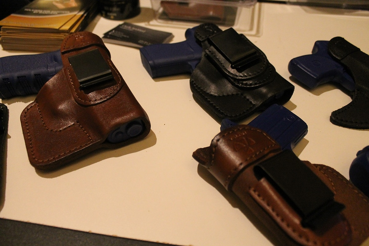 Lineup of Talon's leather holsters at SHOT Show 2017. (Photo: Jacki Billings)