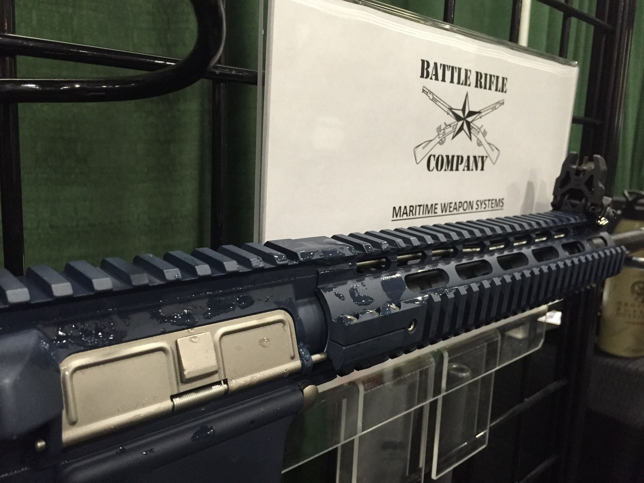 Battle Rifle Company's Cutlass in 5.56, dripping wet! This maritime security-purpose rifle with NP3-coated parts spent 30 days soaking in Galveston Bay. No rust.
