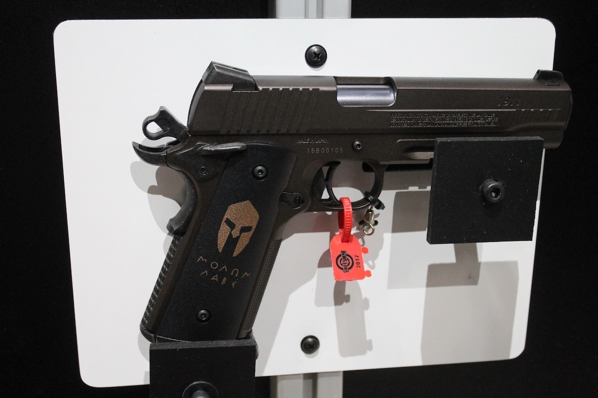 """The Spartan 1911 BB gun features a Spartan helmet and """"Molon Labe"""" for some added character. (Photo: Jacki Billings)"""