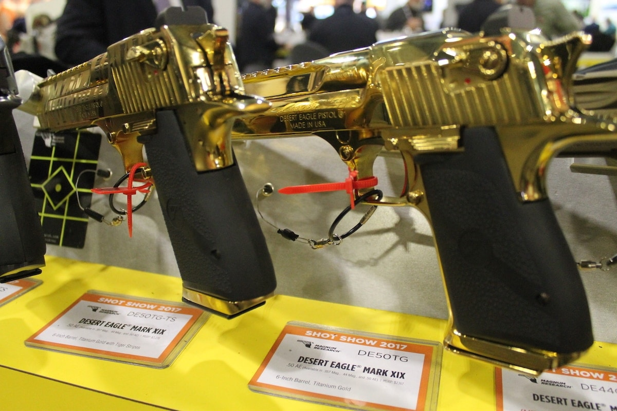 If a standard Desert Eagle isn't stylish enough, try a hand at the gold version found at Kahr's booth. (Photo: Jacki Billings)