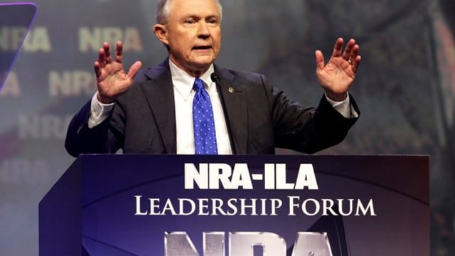 Sen. Jeff Session, a Republican from Alabama, speaking at the NRA annual convention.