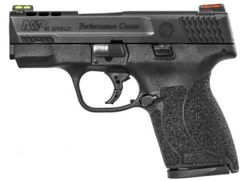The M&P45 Shield features a ported barrel and slide with optional HI-VIZ fiber optic sights, pictured above, or Tritium Night Sights. (Photo: Smith & Wesson)