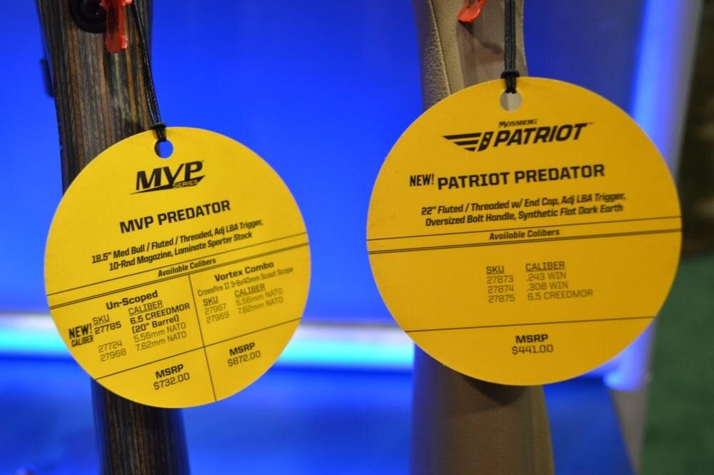 Hang tags announce the new chambering on Mossberg's MVP Predator and Patriot Predator. (Photo: Kristin Alberts)