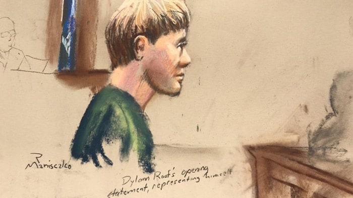 Dylann Roof, who has received the death penalty for the hate-fueled killings of nine black churchgoers, makes his opening statement at his trial in this courtroom sketch in Charleston on Jan. 4. (Photo: Reuters/Sketch by Robert Maniscalco)