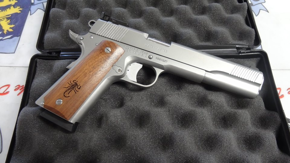 With their distinctive Scorpion marked grips, Olympic has produced 1911s under several brands including Safari since the 1980s (Photo: Olympic Arms)