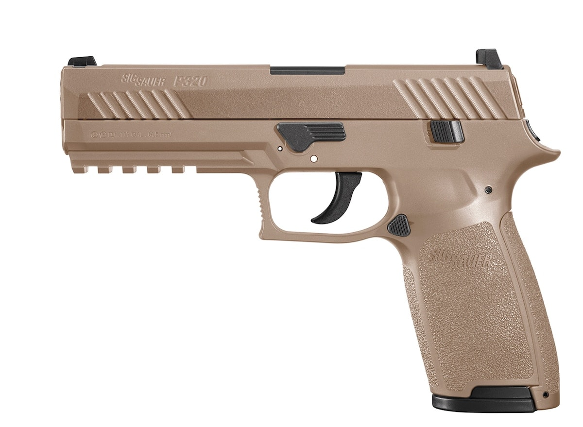 Sig Sauer's P320 Advanced Sport Pellet Air Pistol are offered in two colors -- black and coyote tan. (Photo: Sig Sauer)