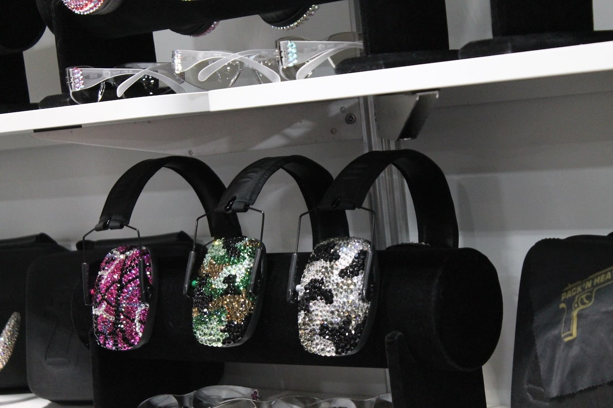 Pack 'N Heat earphones all blinged out and ready to go to the range. (Photo: Jacki Billings)