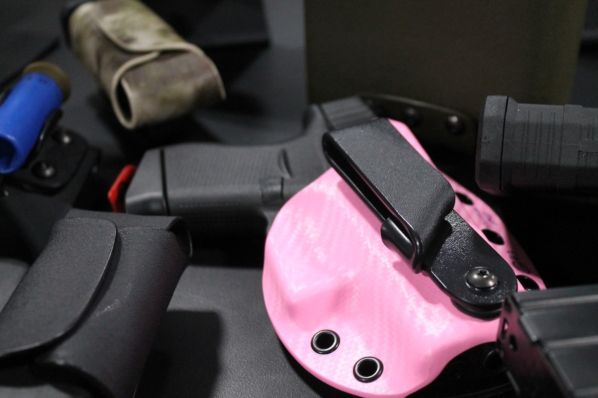 What would a ladies round-up be without a little pink? A pink AIWB holster from Double Click Holsters. (Photo: Jacki Billings)