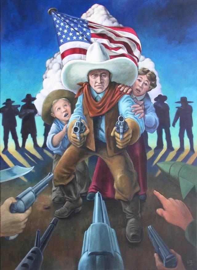 Guns in America painting