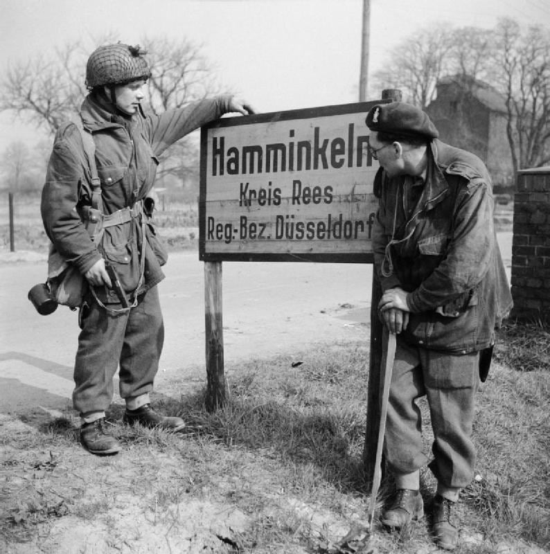British paratroopers in Europe in late 1944-- note the lanyard ring of that Inglis Browning of the soldier on the left coming in handy