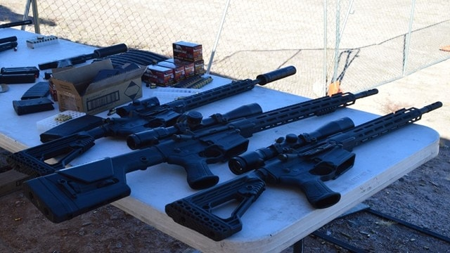 Savage's line of four MSR rifles were on the range at SHOT, with a pair of MSR-15's and a pair of MSR-10's (Photo: Kristin Alberts)