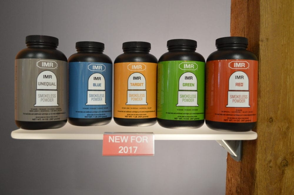 Hodgdon displayed a whole line of new-for-2017 powders (Photo: Kristin Alberts)