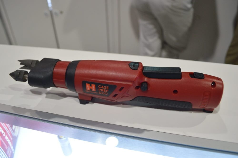 Hornady introduced the new Case Prep Duo, a cordless, rechargeable, handheld unit for case neck prep, chamfer/deburr, and primer pocket cleaning. (Photo: Kristin Alberts)