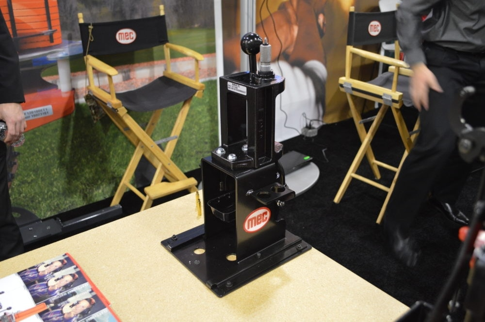 MEC, the company long-dominating the top of the shotshell reloading market, introduced a bench-top press capable of fitting in the company's bench jig. (Photo: Kristin Alberts)