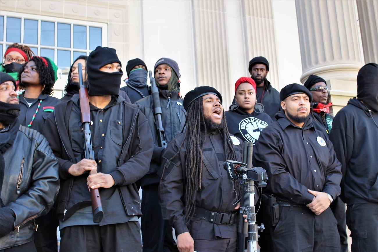Members of the Black Panther party hold a news conference in front of the New Hanover County Courthouse (Photo: Port City Daily)