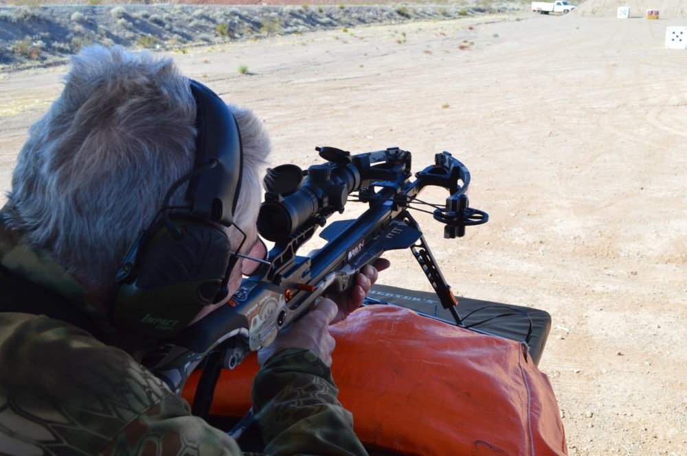 "The hot new Ravin R15 crossbow shooting at 425fps makes 3"" groups at 100 yards the norm. (Photo: Kristin Alberts)"