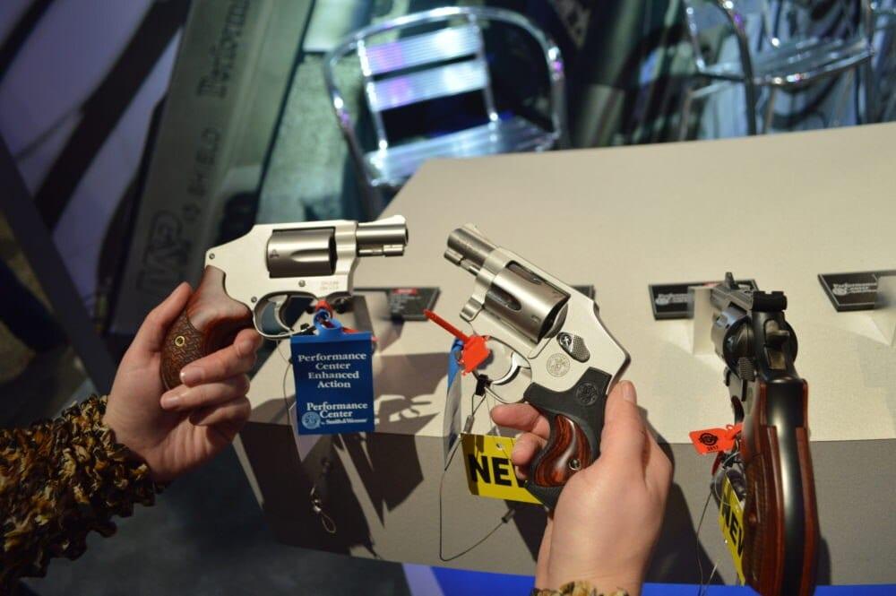 S&W's pair of Performance Center 642 double action .38spl revolvers. (Photo: Kristin Alberts)
