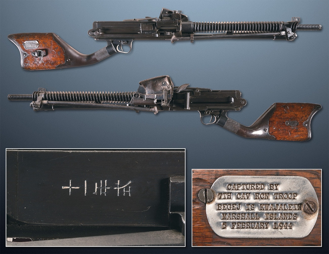 Captured by 7th cav rcn trp Kwaj 5 Feb 1944 Hotchkiss machine gun japanese ria