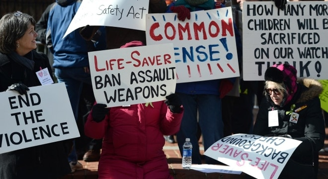 Supporters of gun control demonstrate at a rally in 2013 at the Maryland State House. (Patrick Smith/Getty Images via Washington Post)