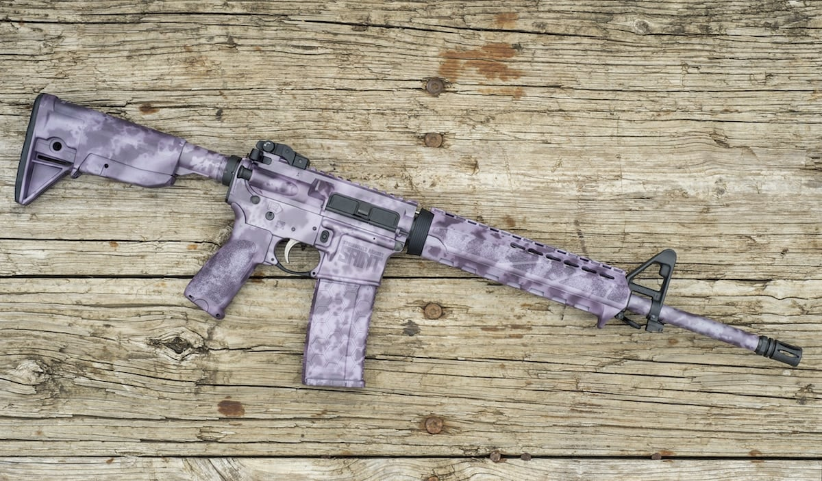 The lilac colored rifle features a series of paints to create a feminine look to the Saint. (Photo: XDMAN)