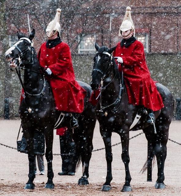 Household Cavalry Mounted Regiment on duty in London