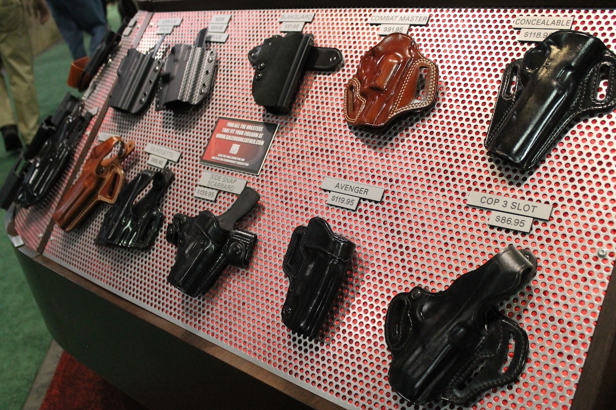 A row of holsters on display at SHOT Show 2017. (Photo: Jacki Billings/Guns.com)