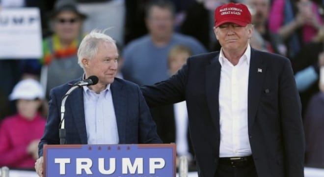 U.S. Sen. Jeffrey Beauregard Sessions III, left, on the campaign trail with Donald Trump. Sessions was announced as Trump's pick to replace Loretta Lynch as U.S. Attorney General in November. (Photo: John Bazemore/AP)