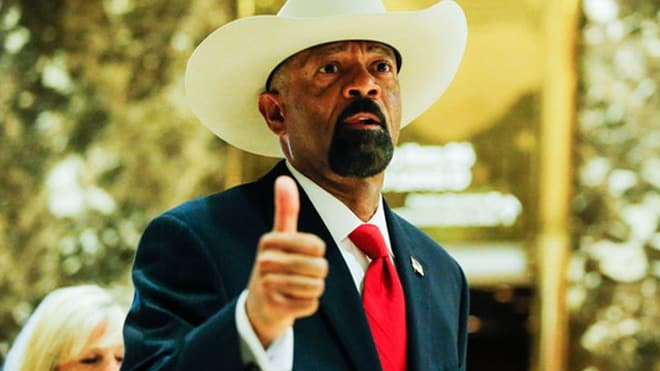 Milwaukee Sheriff David Clarke at Trump Tower in New York. The president was reportedly considering Clarke for a cabinet position. (Photo: Getty Images)