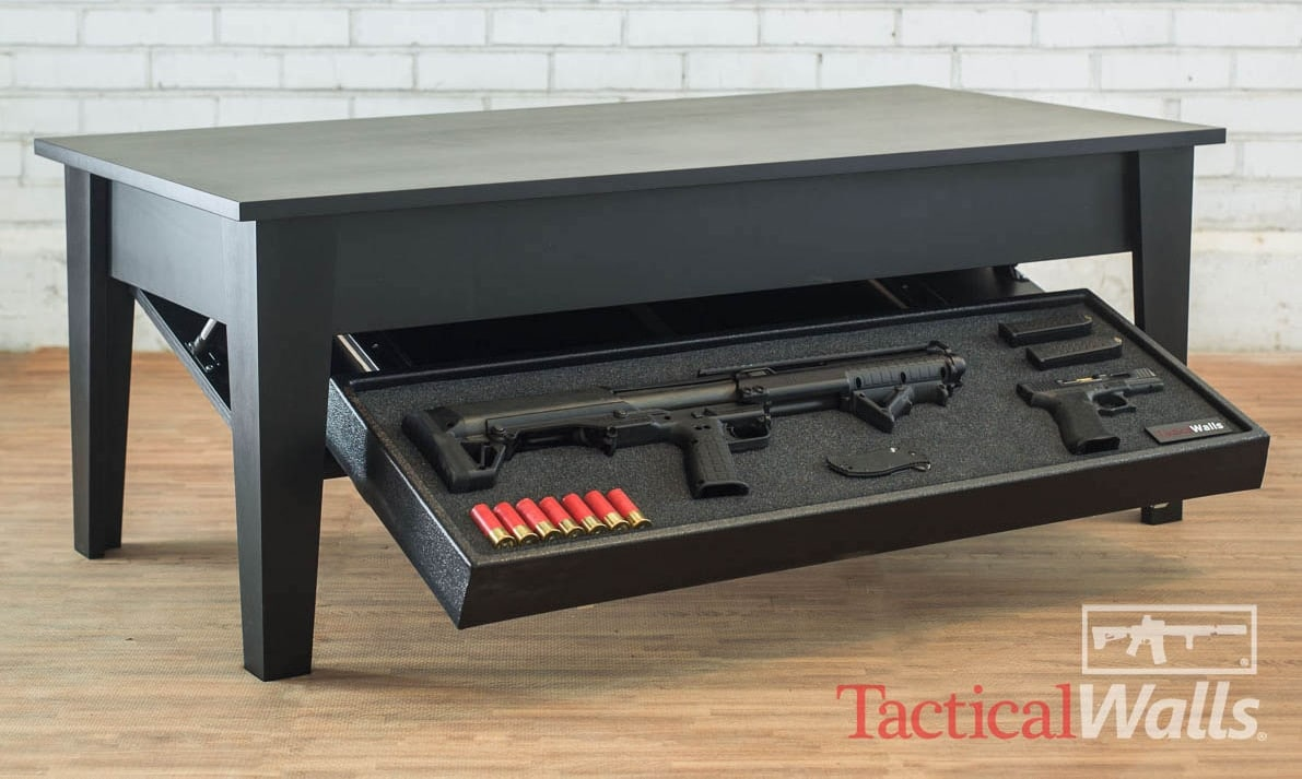 Keeping with TacticalWalls philosophy of hiding guns in plain sight, the coffee table features a drop drown secret gun compartment. (Photo: TacticalWalls)